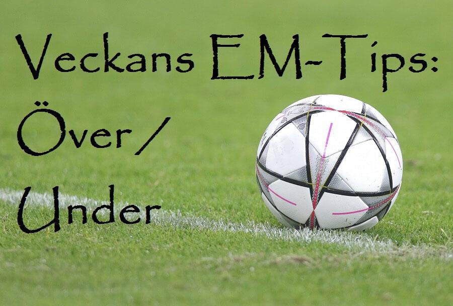 """Bild fotbollsplan och texten """"Veckan EM-tips: Över/Under"""""""