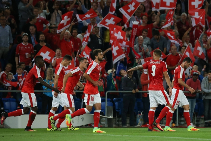 Schweiz mot Portugal hemma.